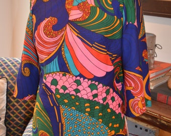 RESERVED FOR ALEXIS: Vintage 60s 70s psychedelic multi-colored blouse top shirt retro S / M small medium