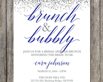 Brunch and Bubbly - Printable Bridal Shower Invitation - Blue and Silver - Silver Sparkle Bridal Shower Invite