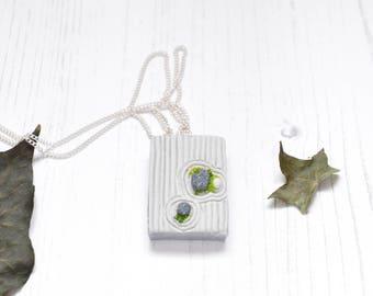 Zen Garden Pendant Necklace, V02, Miniature Japanese Rock Garden Polymer Clay Pendant