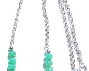 Chrysoprase Necklace, Sterling Silver Chain Gemstone Necklace, Minimalist Necklace, Faceted Chrysoprase Necklace, Green Gemstone, OOAK