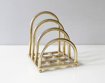 Vintage Brass Arched Letter Holder Desk Organizer Mid Century