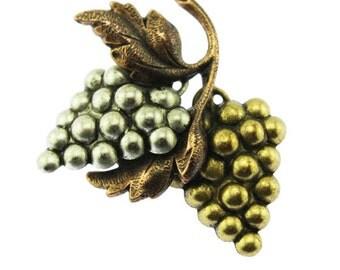 Mixed Metal Grape Brooch, Vintage Grape Pin, Vintage Fruit Brooch