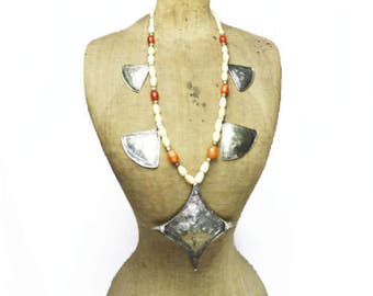 Huge Silver Pendant Necklace, Long Bone Bead Necklace with Large Silver Cross Pendant, Long White Necklace
