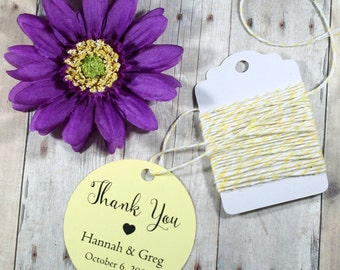 Custom Circle Wedding Favor Tags Set of 20 - Yellow Bridal Shower Tags - Wedding Favor - Light Yellow  Baby Shower  - Lemon Round Tags