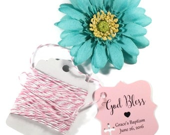 Pink Baptism Tags 20pc - Personalized Christening Favor Tags - Light Pink Custom Favors - God Bless Thank You Tags - Confirmation