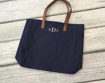 Monogram Tote Bag, Navy Tote Bag, Laptop Bag, Work Bag, Teacher Gift, Bridesmaid Bag, Mom Gift, Tote Bag, Monogrammed Gift, Monogram Bag