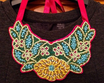 Floral-Inspired Beaded Bib Necklace