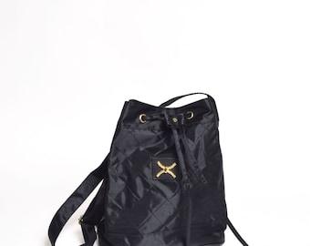Vintage 90's Black Nylon Quilted Shoulder Bag