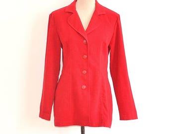 70s Ladies Blazer - Vintage Fitted Womens Jacket - Cherry Red 70s Ladies Suit Coat - Boho Womens Coat - Red Knit Blazer