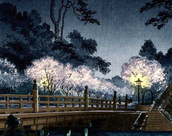 Japanese art, woodblock prints, Benkei Bridge at Night Tsuchiya Koitsu FINE ART PRINT, blooming trees painting, Japanese prints, art posters