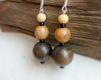Round beads wood earrings , Wooden beaded jewelry ,  Rustic jewelry handmade