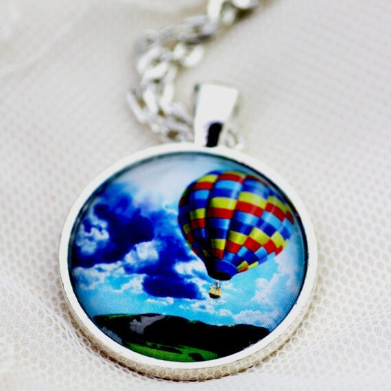 FREE SHIPPING Hot Air Balloon - silver or bronze pendant necklace. Teal green jewellery.