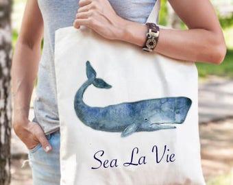 Canvas beach tote bag, tote bag canvas, beach bag, nautical canvas grocery bag, sea life animal tote bag, nautical whale beach tote bag