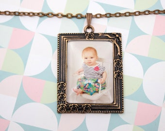 Rose Photo Necklace - Personalized Photo Jewelry - Antique Silver Necklace - Custom Photo Pendant - Picture Necklace - 25 x 35 mm Rectangle