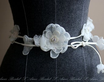 Long Ivory Fabric Flowers Adorning Lace Underlay Bridal Belt Wedding Sash