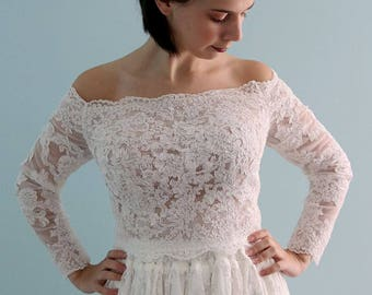 Amazing Romantic 3/4 Sleeve Full Front  Lace Wedding Bolero Top Jacket French lace