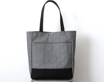 Herringbone Tote Bag Black Canvas SALE