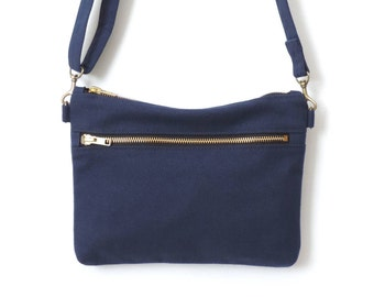 Cross Body Bag Double Zipper Blue Canvas Cross Body Bag SALE