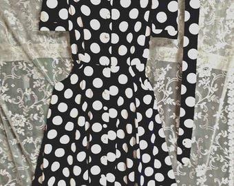 Navy and white polka dot rockabilly dress retro 50's look sock hop