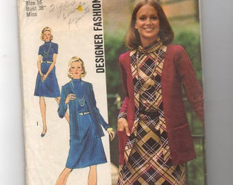 5908 Simplicity Sewing Pattern Dress & Unlined Jacket Size 16 38B Vintage 1970s