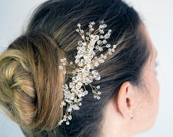 Bridal hair comb. Bridal headpiece. Clear crystal wedding hair accessory. Pearl comb. Gold twigs. Bridal adornment.  READY TO SHIP.