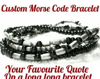 Morse code bracelet,  custom made, secret message, song lyrics,  quote,  hidden message,  song words,  personalised message, morse code