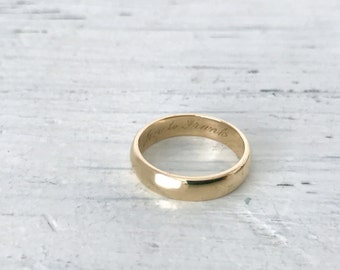 Classic 1940s Wedding Ring | Simple 14k Yellow Gold Band | 'Jen to Frank' | Vintage Gold Wedding Band | Gold Stacking Ring | Size 6.25