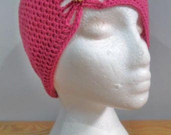 Pink Butterfly Beanie Hat with Jewel Bow Beanie Hat Fashion Accessory Spring Summer Hat 1920s Inspired Child Size Crochet