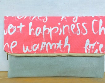 Script Foldover Clutch / Magnetic Snap / Upcycled Repurposed Suede