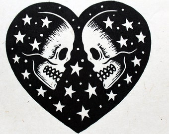 We Are Made Of Stars - a linocut on handmade Nepalese Paper - Signed, Numbered Edition of 150