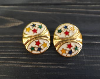 No pierce earrings vintage fashion clip on earrings 4th of july USA flag star earrings hipster clip earrings punk rock 90s grunge steampunk