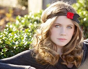 Red Black Headband - Felt Headband - Flower Feather Headband - Feather Headband - Flower Headband - Vintage Headbands - Flapper Headband