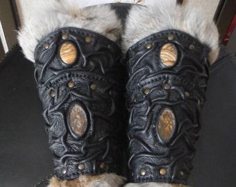 Medieval VIKING Wizard Druid Warrior LARP Leather Forearm FUR BracerS with Gemstones