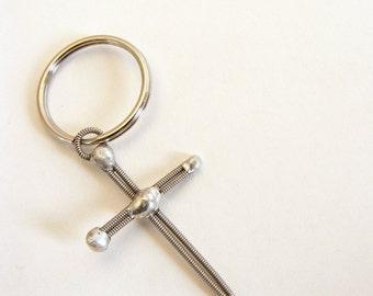 Cross Keychain (Guitar String Cross - Empty Cross)