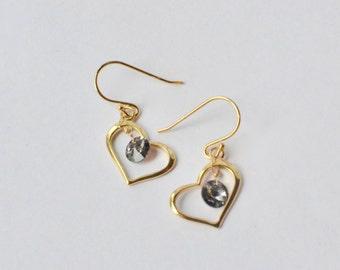 Gold Heart Earrings, Tiny Heart Earrings, Wedding Jewelry, Minimalist Earrings, Heart Jewelry, Gift for Her, Small Minimalist Cute Earrings