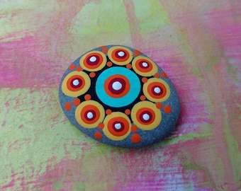 PAINTED BEACH STONE #25 / Pebble Art / Dot Painted Stone / Home Decor /  Paperweight / Decorative Rock
