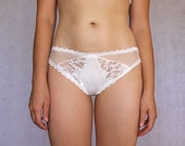 Beautiful Ivory Bridal Lace Panties.  Multitextured Off White. Mesh, Lace, Smooth Jersey KnitBack. Wedding Bohemian Lingerie