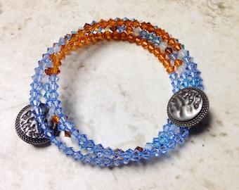 Beachy Blue Memory Wire Bracelet