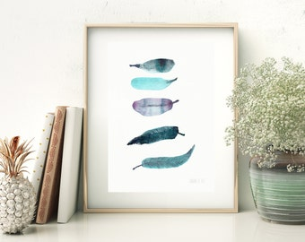Turquoise boho feather watercolour art. Pretty 5 green, turquoise, purple and blueish feathers art print Size A5 print on recycled paper.
