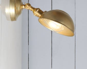 Industrial Lighting - Brass Metal Shade Wall Sconce - Angled Lamp