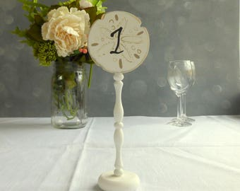 Wood Wedding Table Numbers Sand Dollar Decor, Wood Table Numbers, Beach Wedding Table Signs, Rustic Table Numbers, 1pce