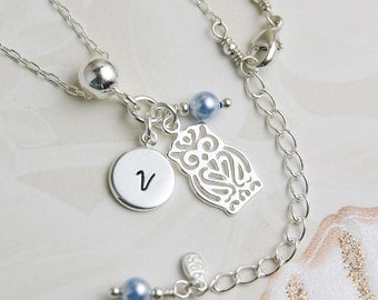 Personalized Necklace, Sterling Silver Owl Necklace, Birthstone Necklace, Initial Necklace, Charm Necklace, Mothers Necklace WN102