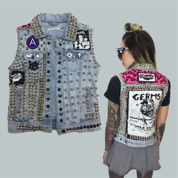 Studded Punk Vest Denim GERMS Patch Leopard Vest Womens Small - Denim Minor Threat The Discocks Patches Spiked Studded Patched Battle Vest