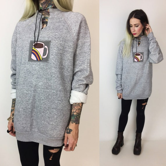 Rainbow Coffee Cup Patch Basic Pullover Sweatshirt Medium - Heather Gray Upcycled Patch Basic Sweatshirt - Coffee Lover Hipster Rainbow Top