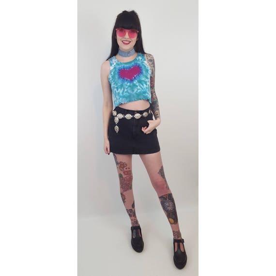 90's Faded Black Denim Mini Skort Size 6 - Vintage Women's Charcoal Gray Mini Skort Small - Casual Spring Summer Shorts Mini Skirt Combo