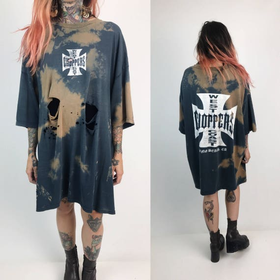 West Coast Choppers California Long Destroyed Bleached Tee 3XL - Baggy Holey Tattered Grunge Oversized Shirt - Motorcycle Shirt Jesse James