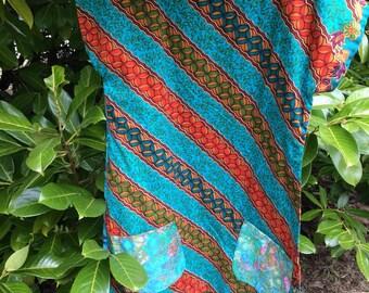 Indonesian vintage sarong fabric tunic top upcycled fabric pockets small medium