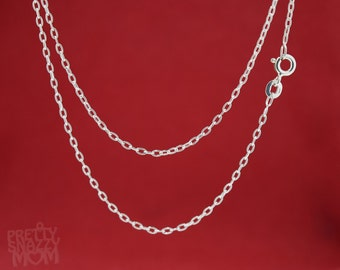 """Choice of 14"""", 16"""", 18"""", 20"""", 24"""" Sterling Silver 925 Oval Cable Link Chain Necklace"""