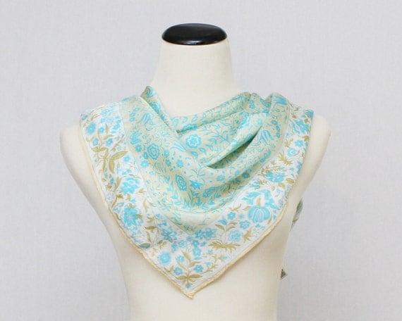 Vera Neumann Silk Scarf - Vintage 1970s Beige and Blue Floral Vera Scarf