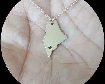 Maine State Necklace - Engraving Pendant - Sterling Silver Jewelry - Gold Jewelry - Rose Gold Jewelry - Personalized Jewelry - Gift